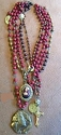 Red Mulitiple Bead Necklace with Medals  Lori Lori