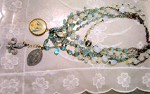 Vintage Crystal Heavenly Blue  BIb Necklace by Lori Lori